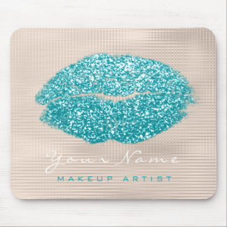 Ocean Aqua Ivory Glitter Name Makeup Lips Kiss Mouse Mat
