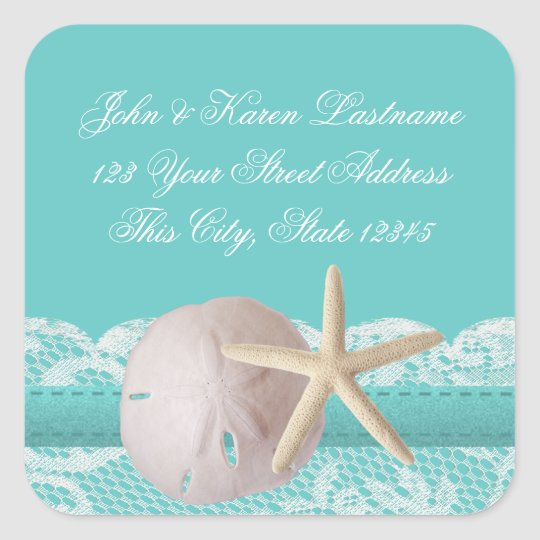 Ocean Aqua Sand Dollar and Starfish Square Sticker