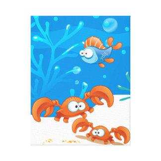 Ocean Aquatic  Cute Crab Funny Fish Wrapped Canvas Canvas Print