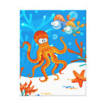 Ocean Aquatic Cute Octopus Wrapped Canvas Stretched Canvas Print