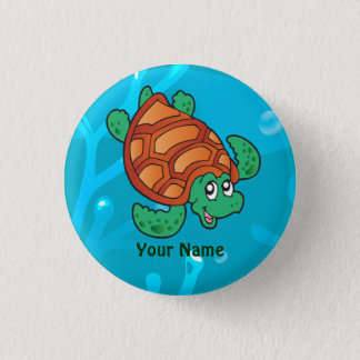 Ocean Aquatic Cute Turtle Custom Button