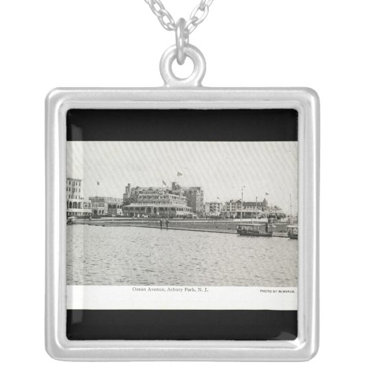 Ocean Ave, Asbury Park, NJ c1915 Vintage Silver Plated Necklace