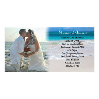 Ocean Beach After the Wedding Photo Announcement Photo Greeting Card