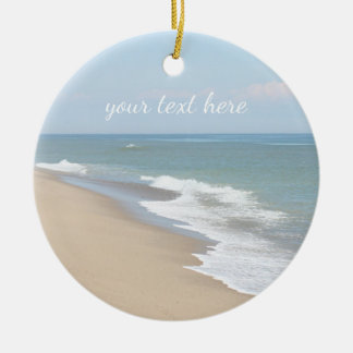 Ocean beach and waves christmas ornament