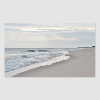 Ocean beach and waves in autumn rectangular sticker