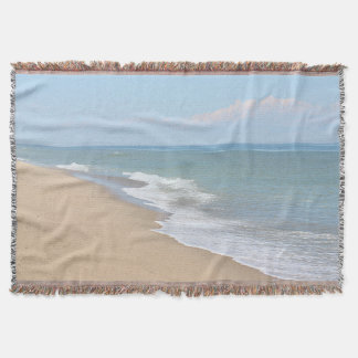 Ocean beach and waves throw blanket