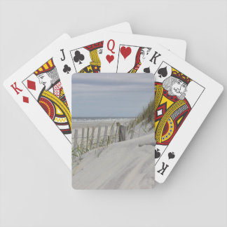Ocean Beach and weathered fence Playing Cards