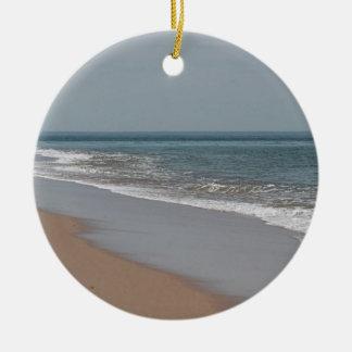 Ocean beach at the National Seashore on Cape Cod Round Ceramic Decoration