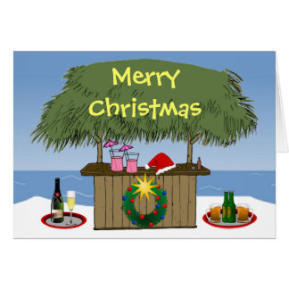 Ocean Beach Christmas Tiki Hut Bar Champange Beer Card