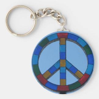 Ocean Beach Peace Sign Basic Round Button Key Ring