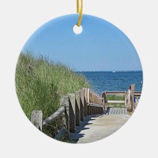 Ocean beach photo christmas ornament