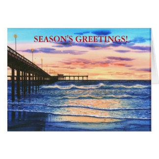 OCEAN BEACH PIER SUNSET GREETING CARD