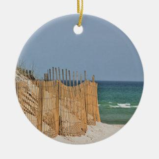 Ocean beach round ceramic decoration