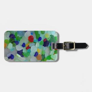 Ocean, beach, sea glass, beach glass bag tag