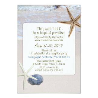"Ocean Beach Starfish Wedding Reception Invitations 5"" X 7"" Invitation Card"