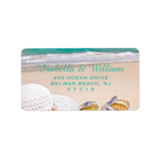 Ocean Beach Summer Wedding Address Label