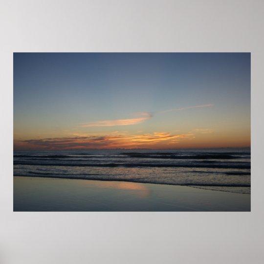 Ocean beach sunrise colour photo poster print