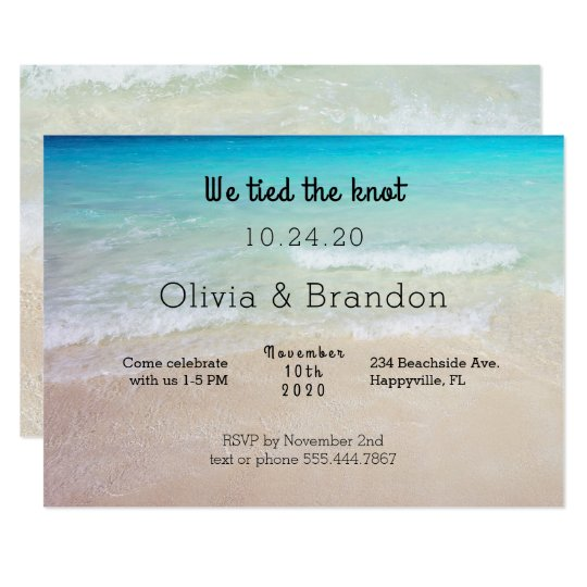 Ocean Beach We Are Married Reception Invitation