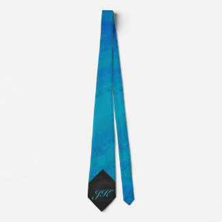 Ocean Blue and Black Monogram Tie