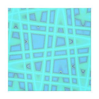 Ocean Blue Baby Blue Modern Geometric Wave Pattern Gallery Wrapped Canvas