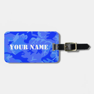 Ocean Blue Camo luggage tag