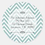 Ocean Blue Chevron Modern Name Return Address Round Sticker