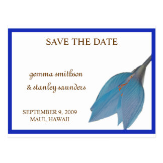 Ocean Blue Flower Save the Date Postcard