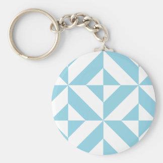 Ocean Blue Geometric Deco Cube Pattern Keychains