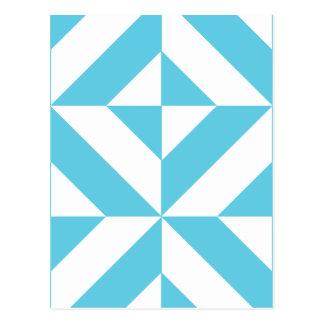 Ocean Blue Geometric Deco Pattern Postcard