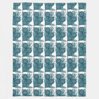 Ocean Blue Gerbera Daisy Flower Bouquet Fleece Blanket