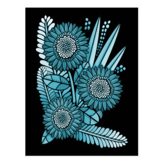 Ocean Blue Gerbera Daisy Flower Bouquet Postcard