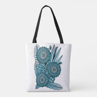 Ocean Blue Gerbera Daisy Flower Bouquet Tote Bag