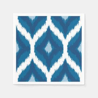 Ocean Blue Ikat Modern Ethnic Geometric Print Disposable Serviette