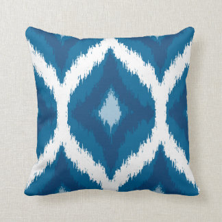 Ocean Blue Ikat Modern Ethnic Geometric Print Throw Pillow