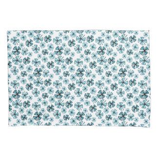 Ocean Blue Lucky Shamrock Clover Pillowcase
