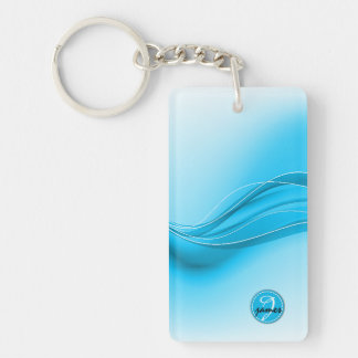 Ocean Blue Modern Waves Monogram Key Ring