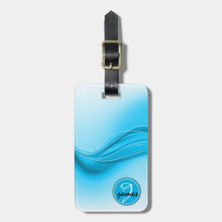 Ocean Blue Modern Waves Monogram Luggage Tag