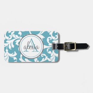 Ocean Blue Monogrammed Damask Print Luggage Tag