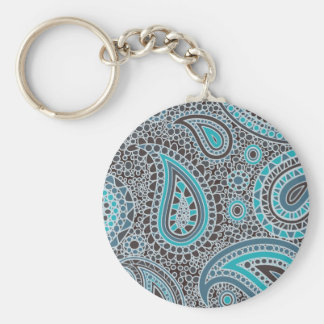 Ocean Blue paisley Basic Round Button Key Ring