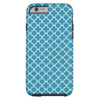 Ocean Blue Quatrefoil Pattern Tough iPhone 6 Case