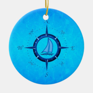Ocean Blue Sailboat And Compass Rose Christmas Ornament