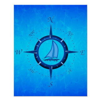 Ocean Blue Sailboat And Compass Rose Poster