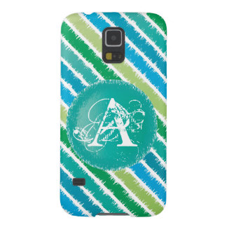 Ocean Blue & Sea Green Monogram Stripes Phone Case