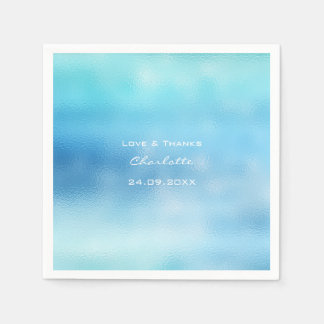 Ocean Blue Sky Ombre Glass White Aqua See Delicate Disposable Serviettes