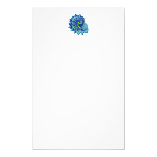 Ocean Blue Spiral Sea Shell Stationery