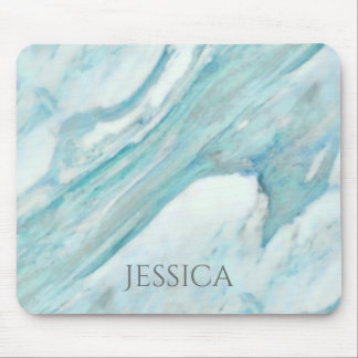 Ocean Blue Surf Abstract Marble Pattern Mouse Pad