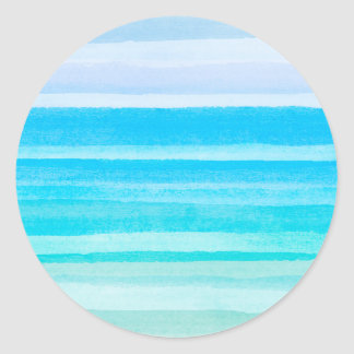Ocean Blue Teal Watercolor Ombre Stripe Classic Round Sticker