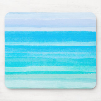 Ocean Blue Teal Watercolor Ombre Stripe Mouse Pad