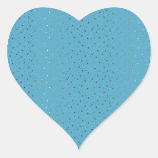 Ocean Blue Tiny Golden Stars Heart Sticker
