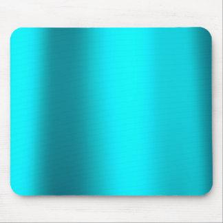 Ocean Blue Turquoise Minimal Metallic Steel Mouse Pad